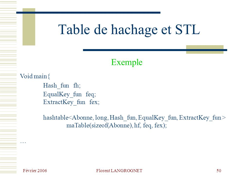 Février 2006 Florent LANGROGNET50 Table de hachage et STL Void main{ Hash_fun fh; EqualKey_fun feq; ExtractKey_fun fex; hashtable maTable(sizeof(Abonn