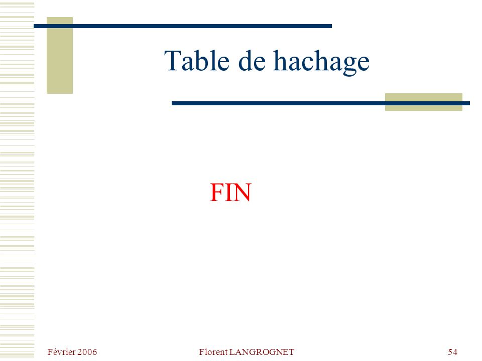 Février 2006 Florent LANGROGNET54 Table de hachage FIN