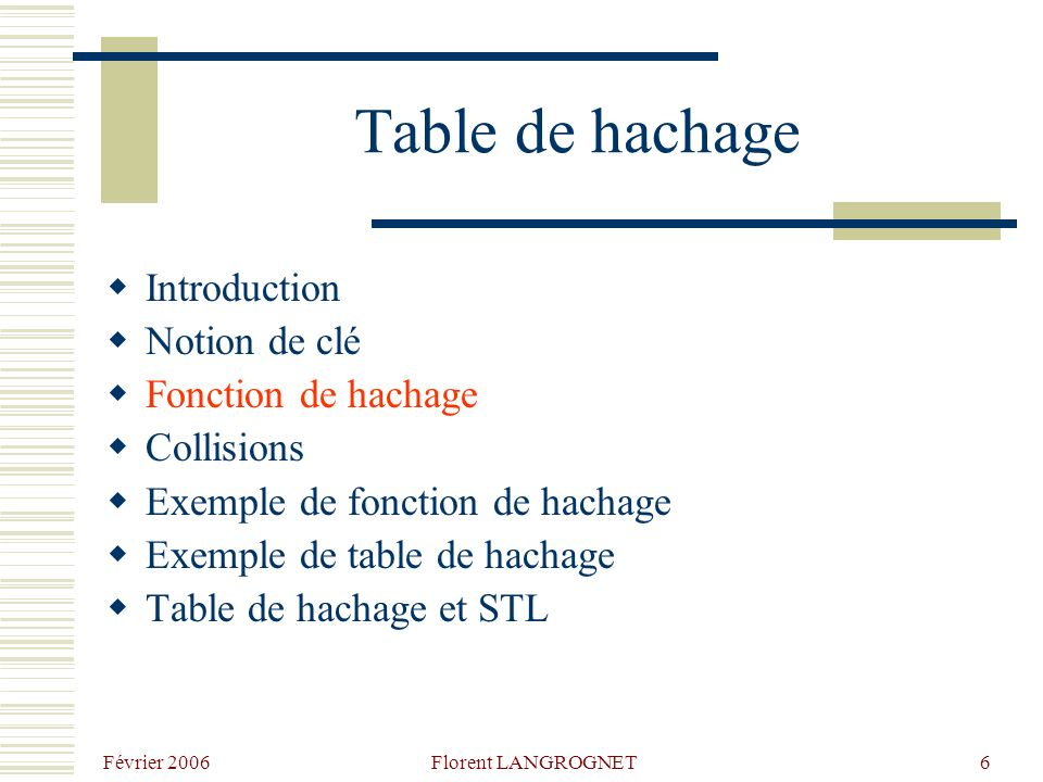 Février 2006 Florent LANGROGNET6 Table de hachage Introduction Notion de clé Fonction de hachage Collisions Exemple de fonction de hachage Exemple de table de hachage Table de hachage et STL