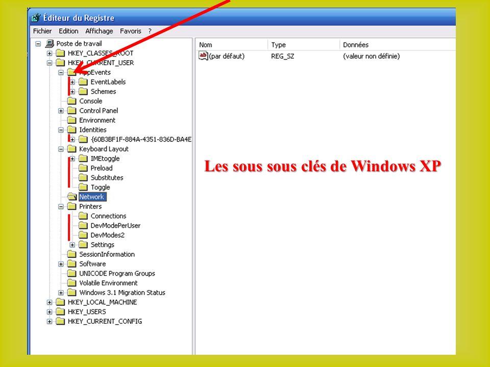Les sous sous clés de Windows XP