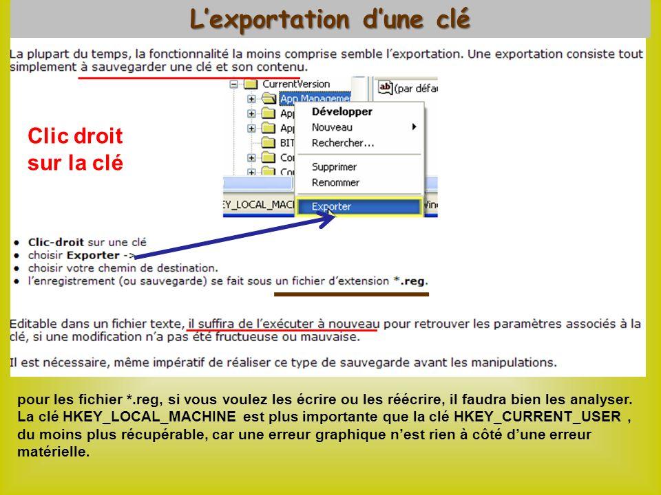 Lexportation dune clé pour les fichier *.reg, si vous voulez les écrire ou les réécrire, il faudra bien les analyser.