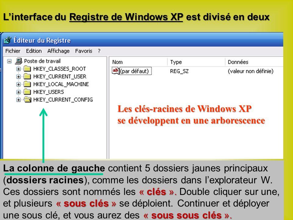 Linterface du Registre de Windows XP est divisé en deux « clés ».