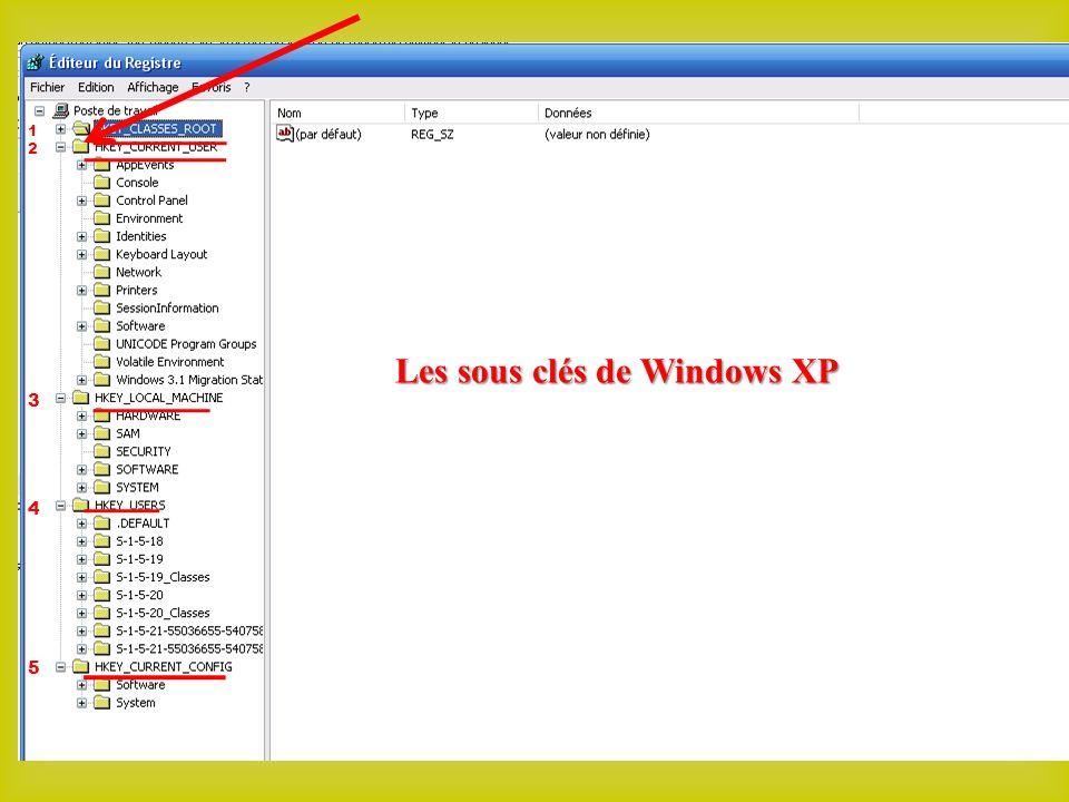 1212 3 4 5 Les sous clés de Windows XP