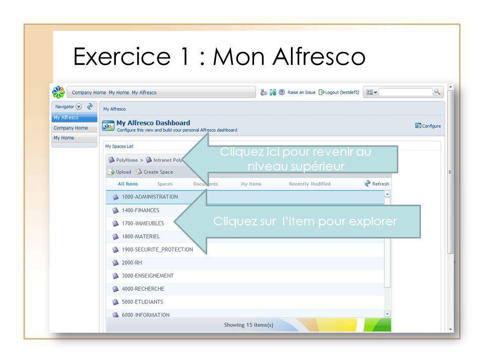 Exercice 1 : Mon Alfresco Cliquez ici pour revenir au niveau supérieur Cliquez sur litem pour explorer