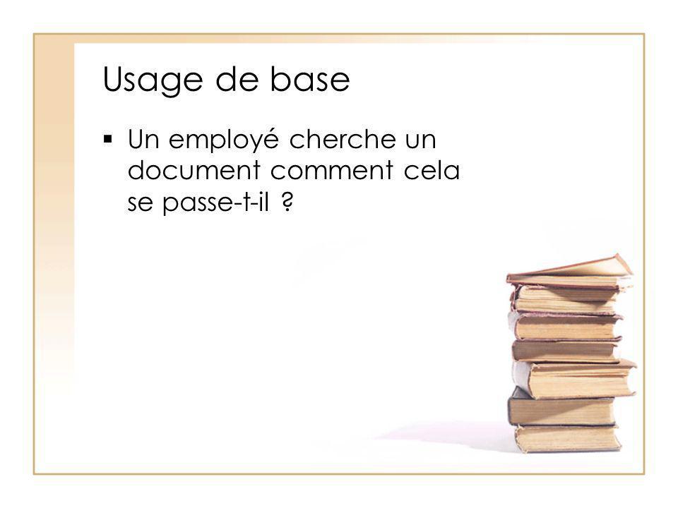 Usage de base Un employé cherche un document comment cela se passe-t-il ?