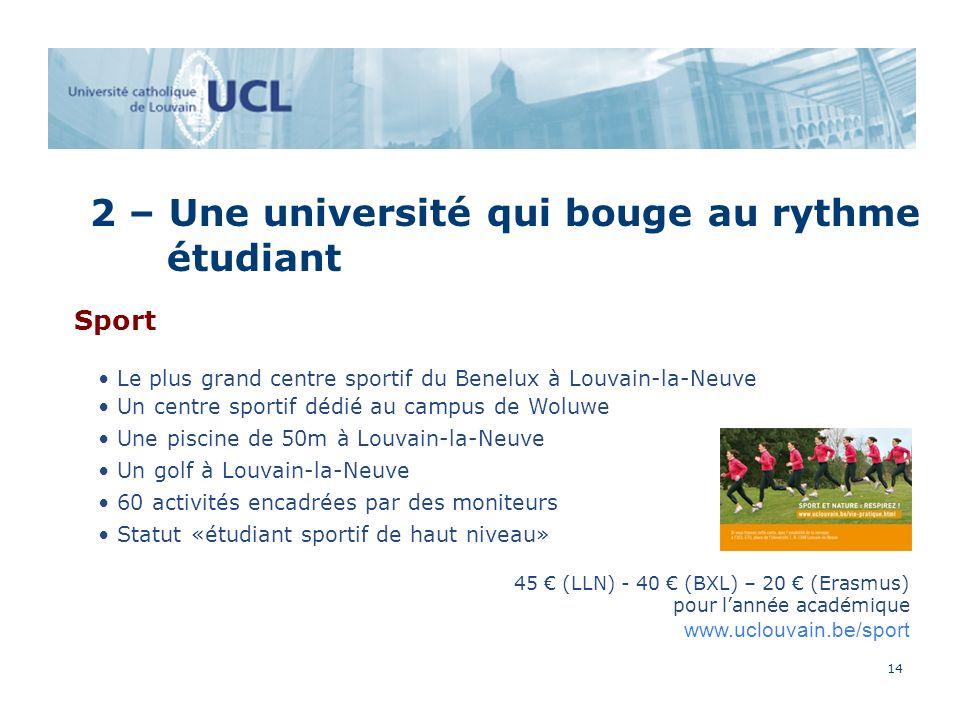 14 2 – Une université qui bouge au rythme étudiant Sport Le plus grand centre sportif du Benelux à Louvain-la-Neuve Un centre sportif dédié au campus de Woluwe Une piscine de 50m à Louvain-la-Neuve Un golf à Louvain-la-Neuve 60 activités encadrées par des moniteurs Statut «étudiant sportif de haut niveau» 45 (LLN) - 40 (BXL) – 20 (Erasmus) pour lannée académique www.uclouvain.be/sport