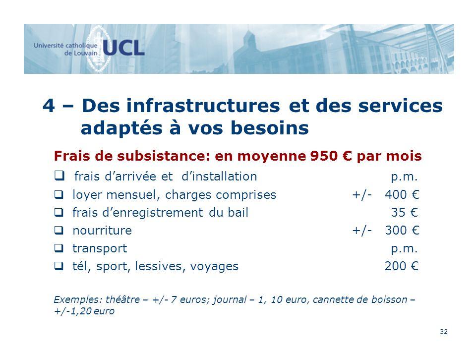 32 4 – Des infrastructures et des services adaptés à vos besoins Frais de subsistance: en moyenne 950 par mois frais darrivée et dinstallation p.m.
