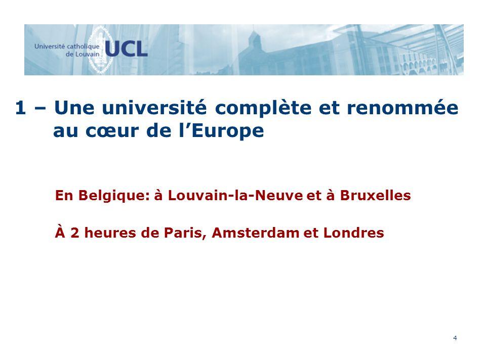 4 1 – Une université complète et renommée au cœur de lEurope En Belgique: à Louvain-la-Neuve et à Bruxelles À 2 heures de Paris, Amsterdam et Londres