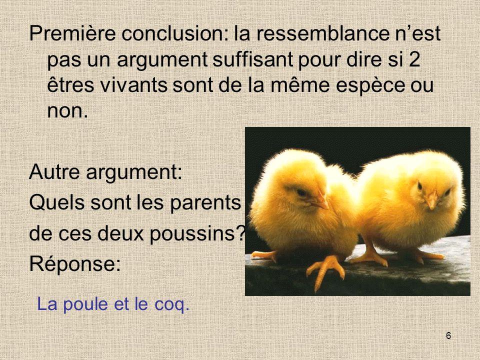6 Première conclusion: la ressemblance nest pas un argument suffisant pour dire si 2 êtres vivants sont de la même espèce ou non. Autre argument: Quel