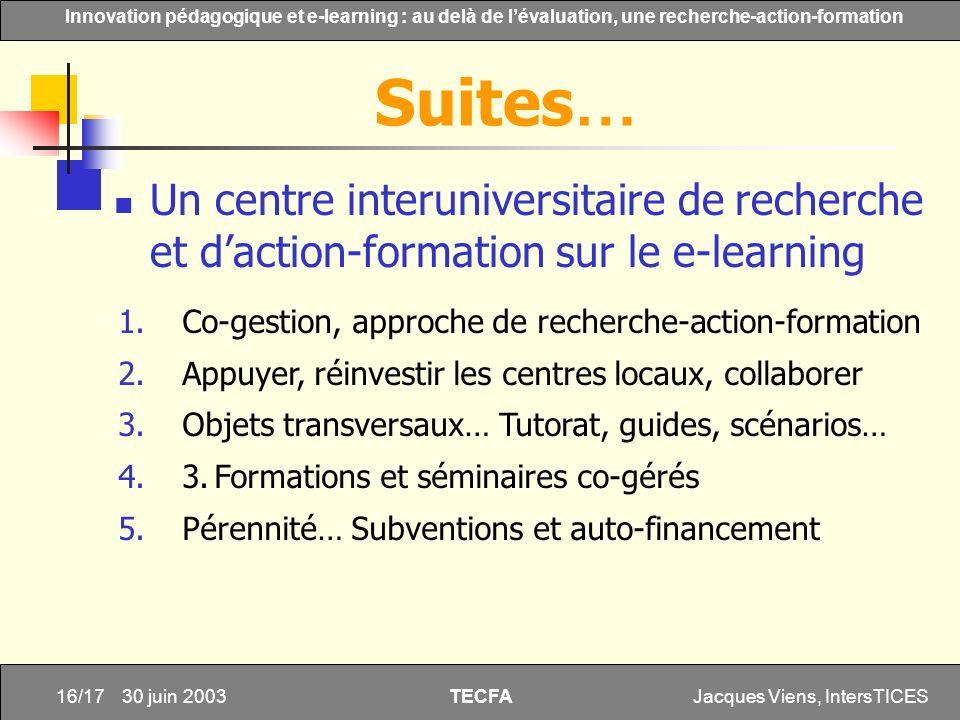 Jacques Viens, IntersTICES16/17 Innovation pédagogique et e-learning : au delà de lévaluation, une recherche-action-formation TECFA 30 juin 2003 Un ce