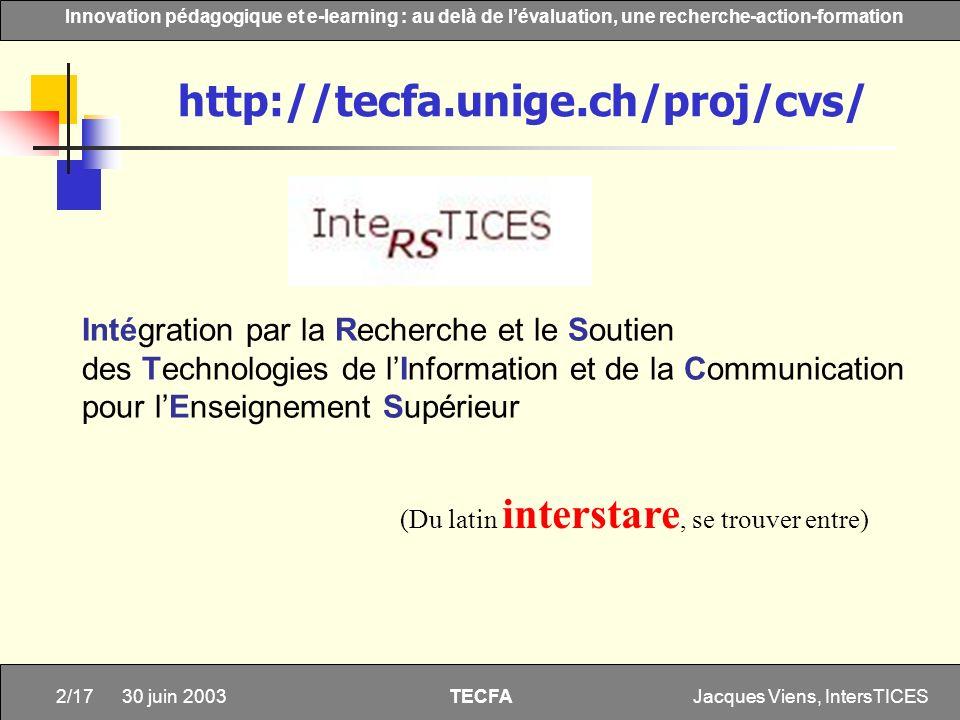 Jacques Viens, IntersTICES2/17 Innovation pédagogique et e-learning : au delà de lévaluation, une recherche-action-formation TECFA 30 juin 2003 Intégr