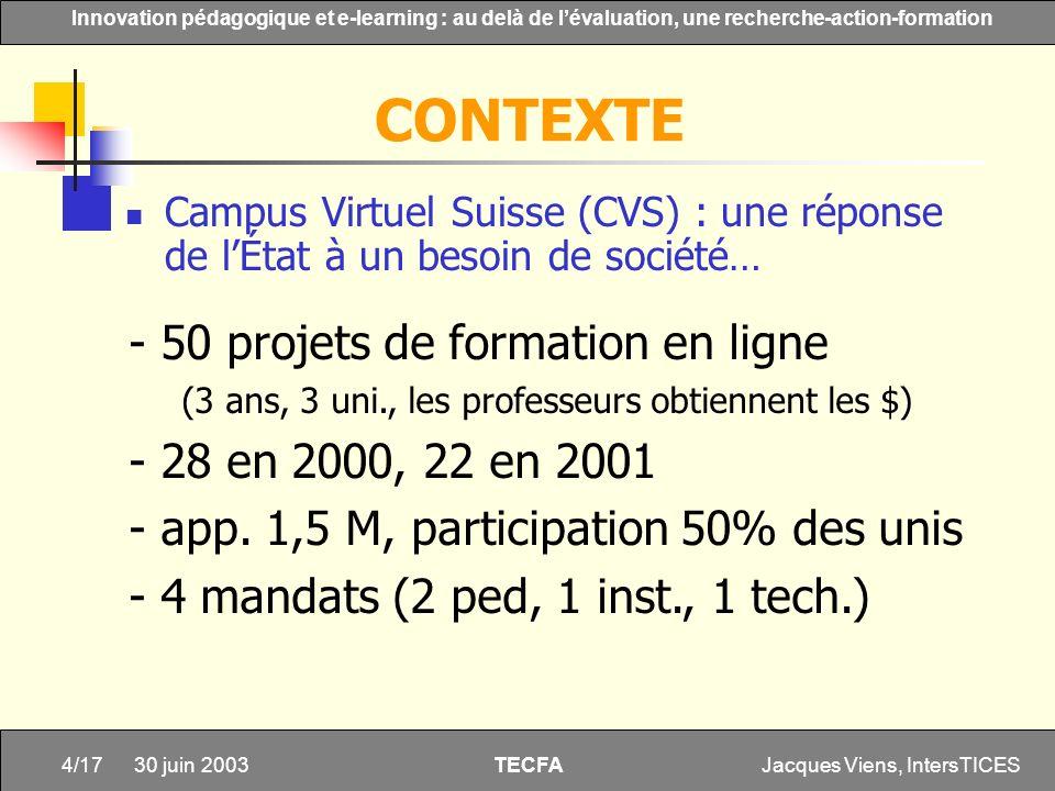 Jacques Viens, IntersTICES4/17 Innovation pédagogique et e-learning : au delà de lévaluation, une recherche-action-formation TECFA 30 juin 2003 CONTEX