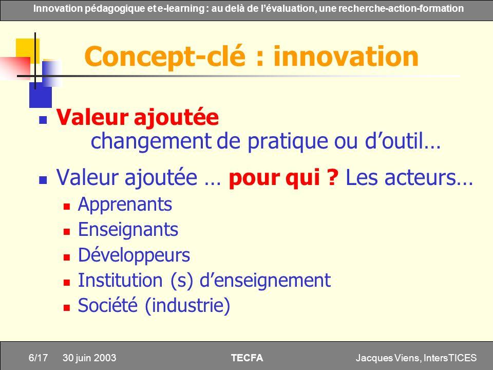 Jacques Viens, IntersTICES6/17 Innovation pédagogique et e-learning : au delà de lévaluation, une recherche-action-formation TECFA 30 juin 2003 Valeur