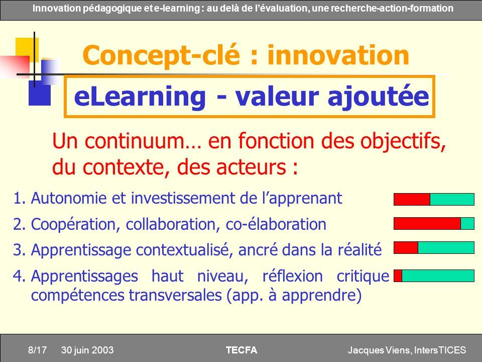 Jacques Viens, IntersTICES8/17 Innovation pédagogique et e-learning : au delà de lévaluation, une recherche-action-formation TECFA 30 juin 2003 eLearn