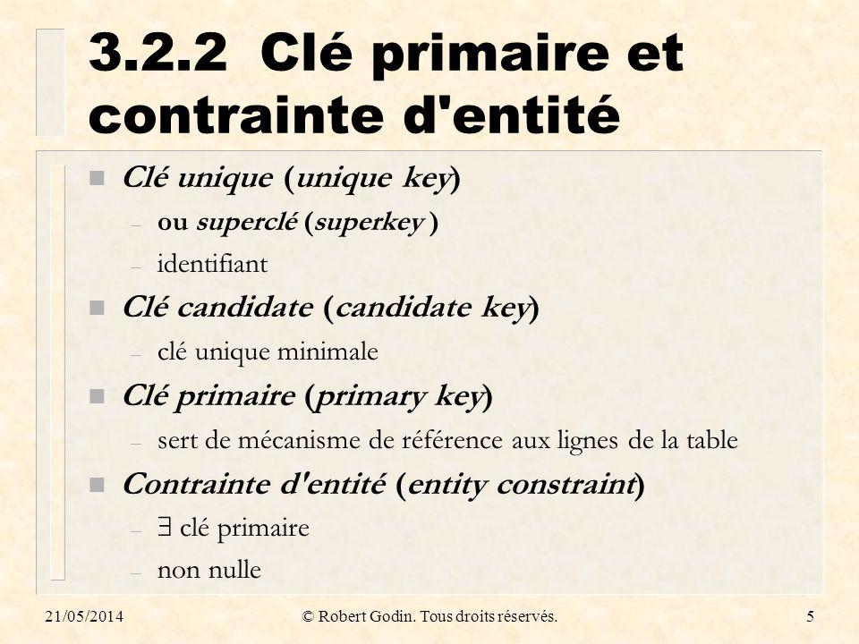 21/05/2014© Robert Godin.Tous droits réservés.36 3.3.4.5 CAS UN À UN n 1.