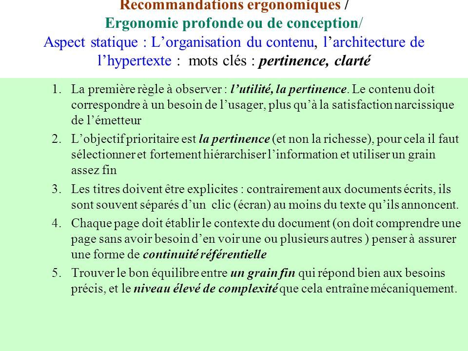 Recommandations ergonomiques / Ergonomie profonde ou de conception/ Aspect statique : Lorganisation du contenu, larchitecture de lhypertexte : mots cl