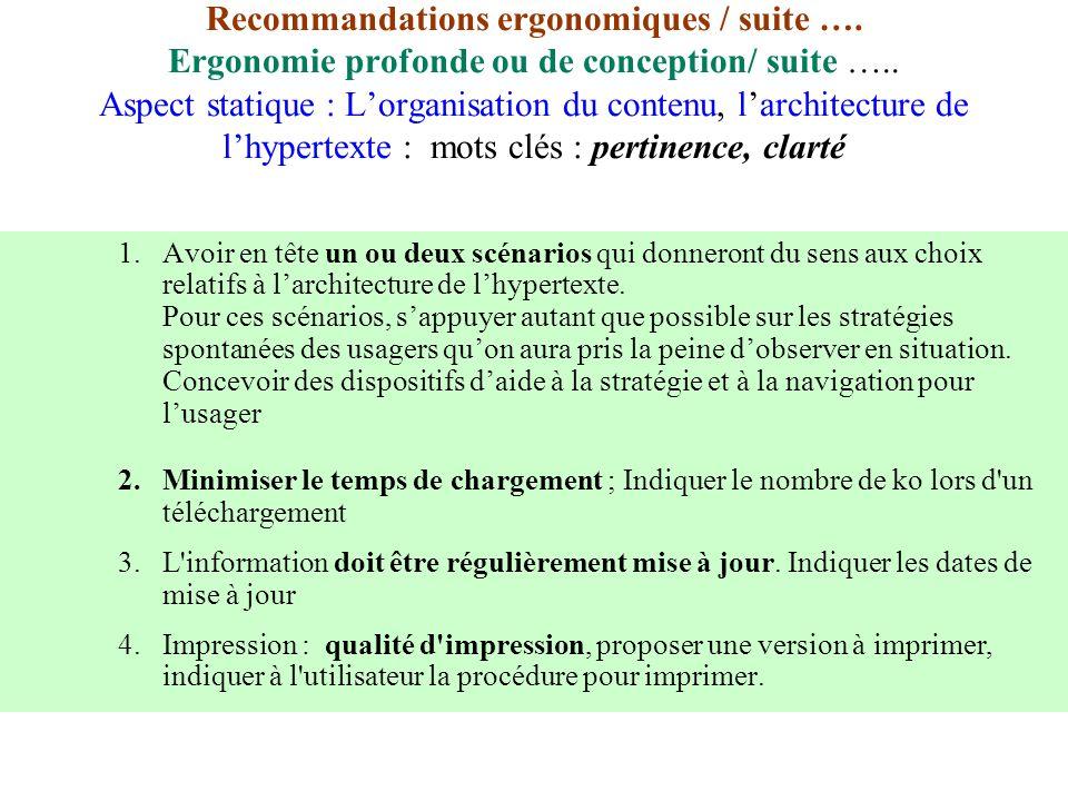 Recommandations ergonomiques / suite …. Ergonomie profonde ou de conception/ suite ….. Aspect statique : Lorganisation du contenu, larchitecture de lh