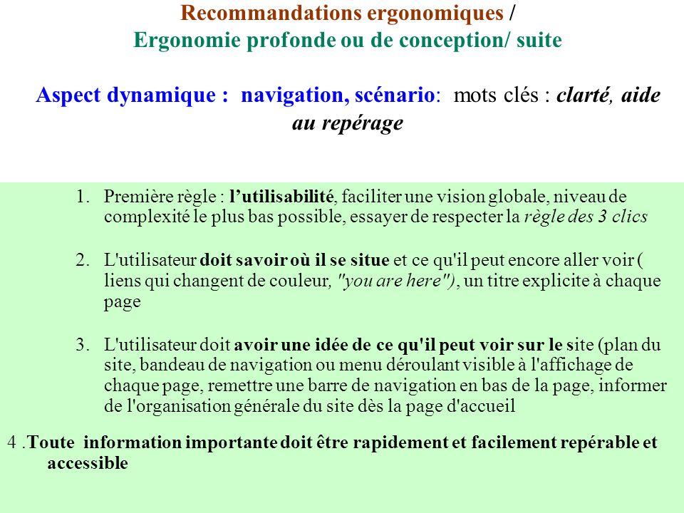 Recommandations ergonomiques / Ergonomie profonde ou de conception/ suite Aspect dynamique : navigation, scénario: mots clés : clarté, aide au repérag