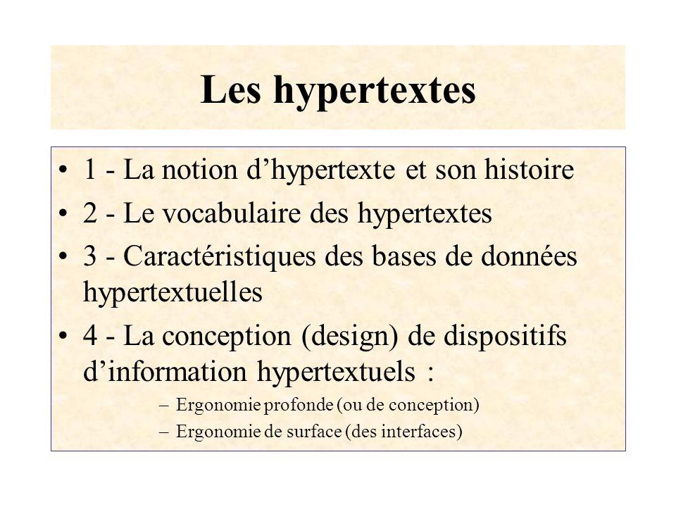 Les hypertextes 1 - La notion dhypertexte et son histoire 2 - Le vocabulaire des hypertextes 3 - Caractéristiques des bases de données hypertextuelles