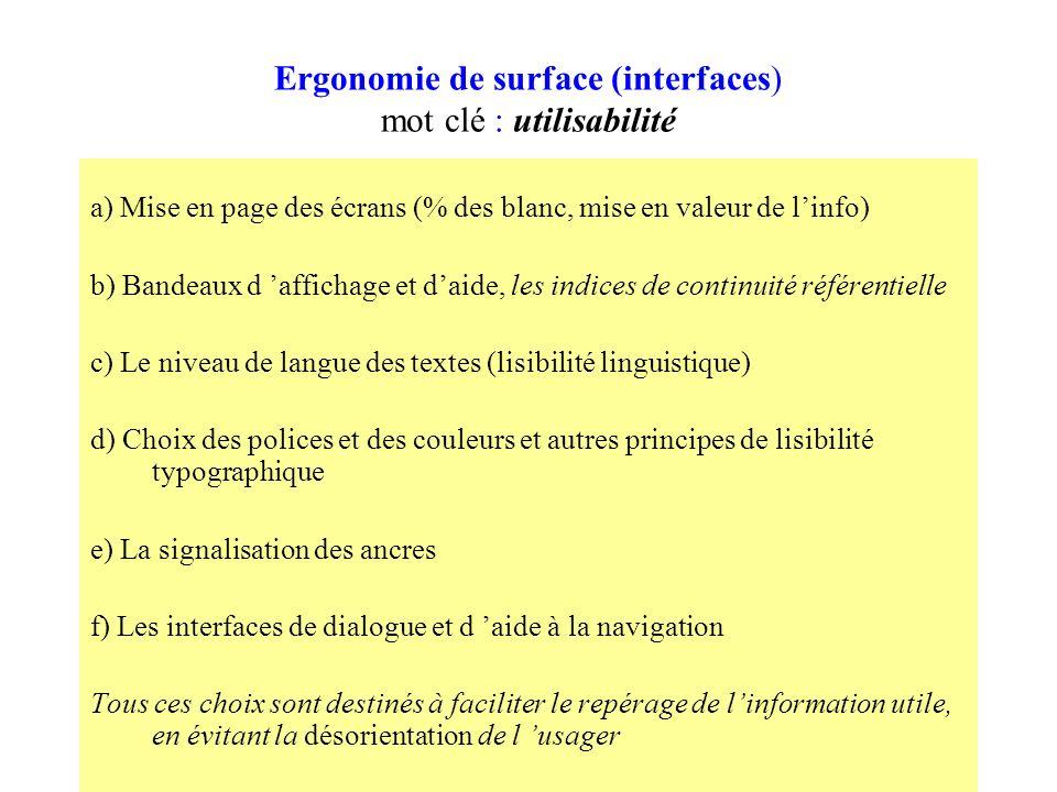 Ergonomie de surface (interfaces) mot clé : utilisabilité a) Mise en page des écrans (% des blanc, mise en valeur de linfo) b) Bandeaux d affichage et