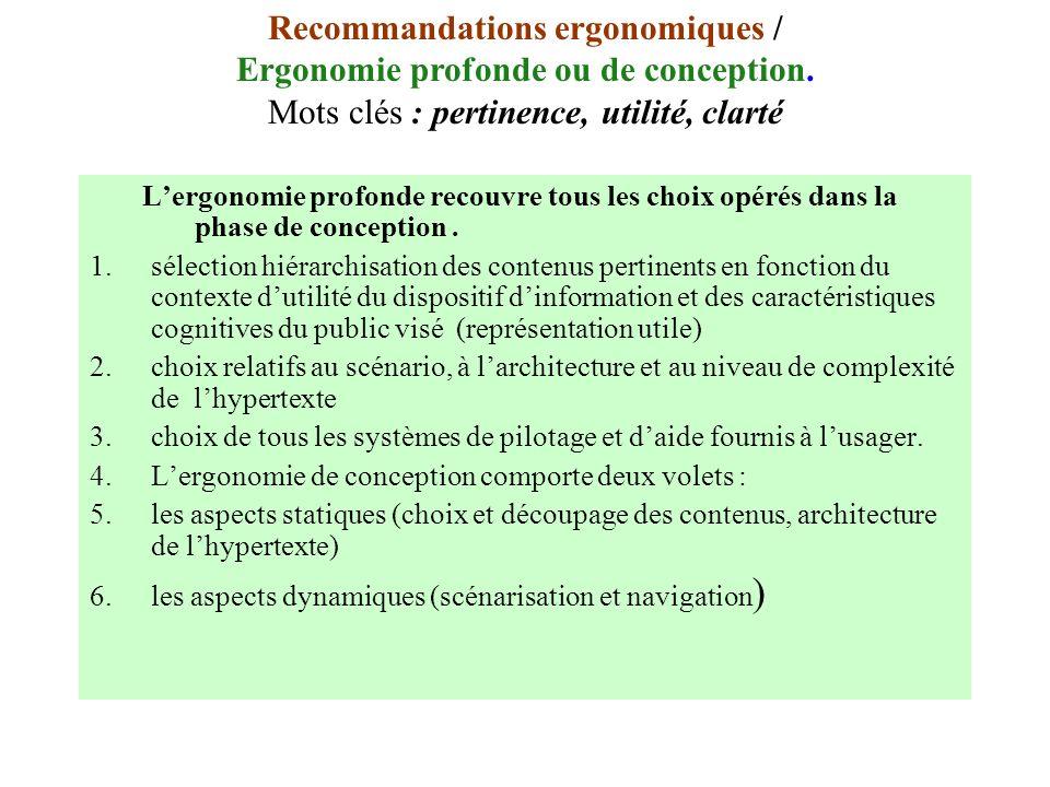 Lergonomie profonde recouvre tous les choix opérés dans la phase de conception. 1.sélection hiérarchisation des contenus pertinents en fonction du con
