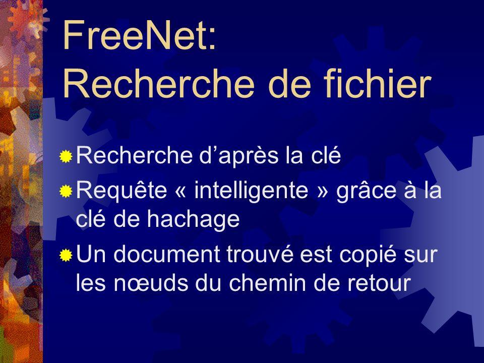 FreeNet: Les fichiers Répartis sur les machines du réseau Indépendants de la localisation Clé daccès (privé et public) Stockage complètement crypté