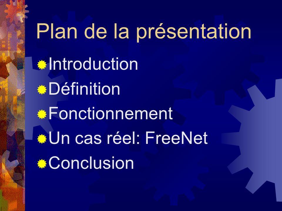 Plan de la présentation Introduction Définition Fonctionnement Un cas réel: FreeNet Conclusion