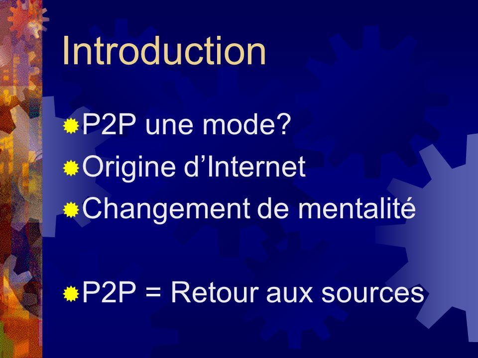 Introduction P2P une mode? Origine dInternet Changement de mentalité P2P = Retour aux sources