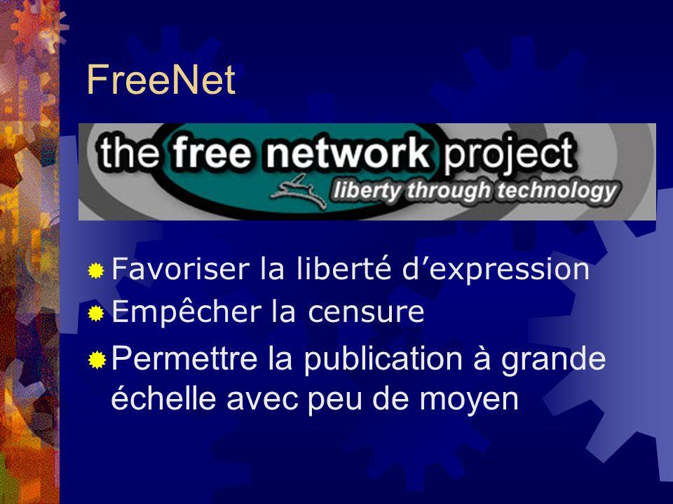 FreeNet Favoriser la liberté dexpression Empêcher la censure Permettre la publication à grande échelle avec peu de moyen