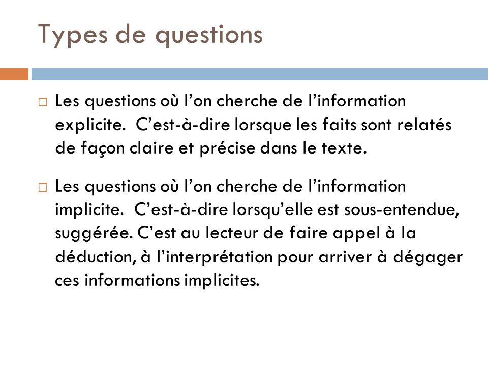 Types de questions Les questions où lon cherche de linformation explicite. Cest-à-dire lorsque les faits sont relatés de façon claire et précise dans