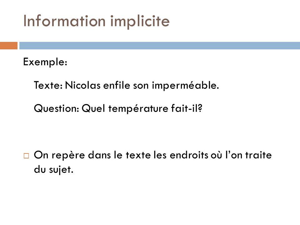 Information implicite Exemple: Texte: Nicolas enfile son imperméable. Question: Quel température fait-il? On repère dans le texte les endroits où lon