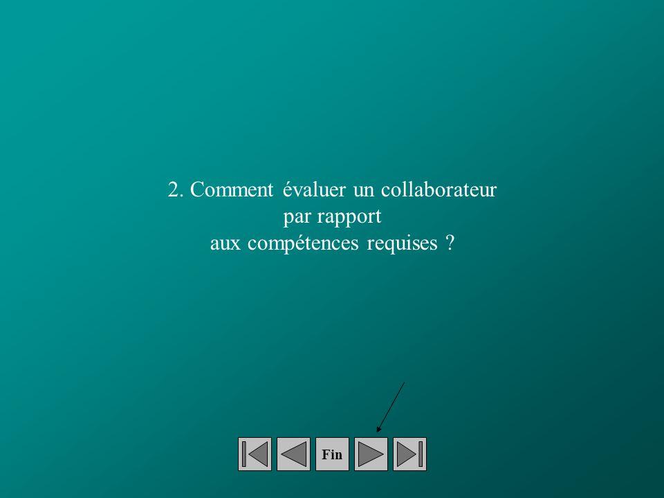 2. Comment évaluer un collaborateur par rapport aux compétences requises Fin