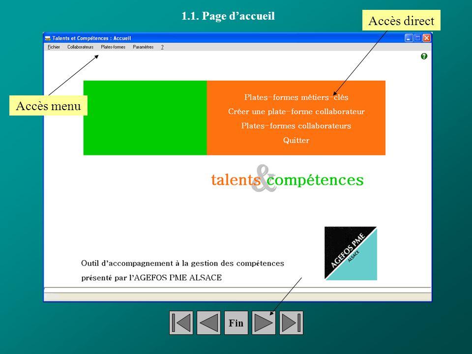 1.1. Page daccueil Accès direct Accès menu