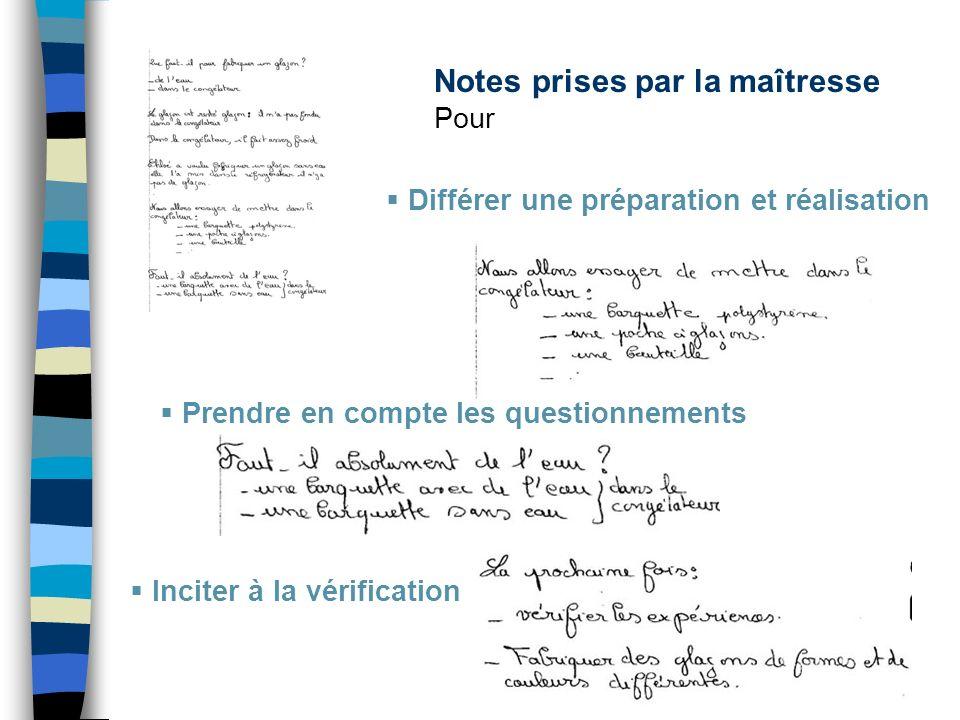 Des écrits organisés collectivement Pour comparer des procédures.