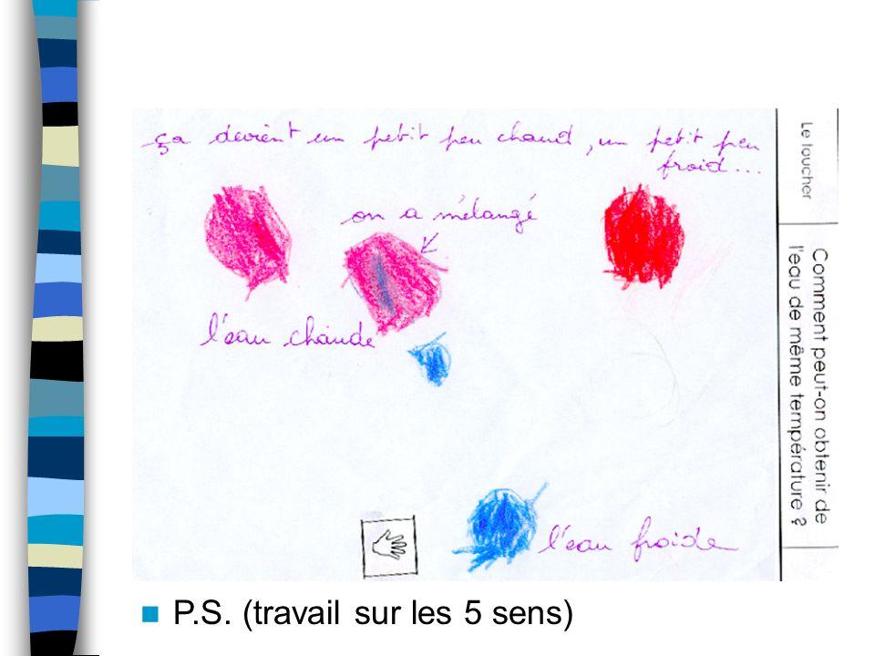 Exemples de traces écrites P.S. Après avoir expérimenté, les élèves dessinent ce quils ont fait