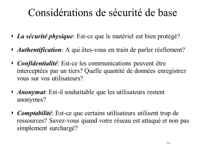 14 Considérations de sécurité de base La sécurité physique: Est-ce que le matériel est bien protégé? Authentification: A qui êtes-vous en train de par