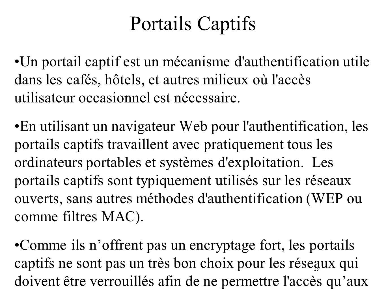 19 Portails Captifs Un portail captif est un mécanisme d authentification utile dans les cafés, hôtels, et autres milieux où l accès utilisateur occasionnel est nécessaire.