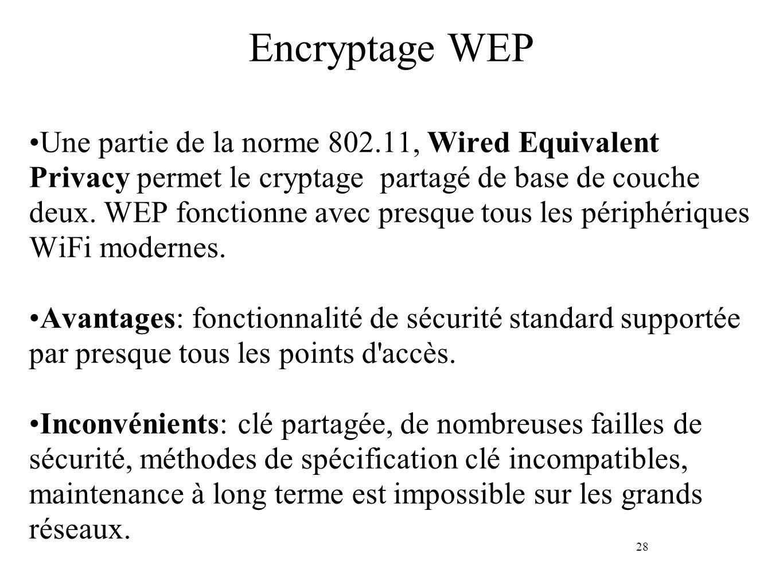 28 Encryptage WEP Une partie de la norme 802.11, Wired Equivalent Privacy permet le cryptage partagé de base de couche deux. WEP fonctionne avec presq
