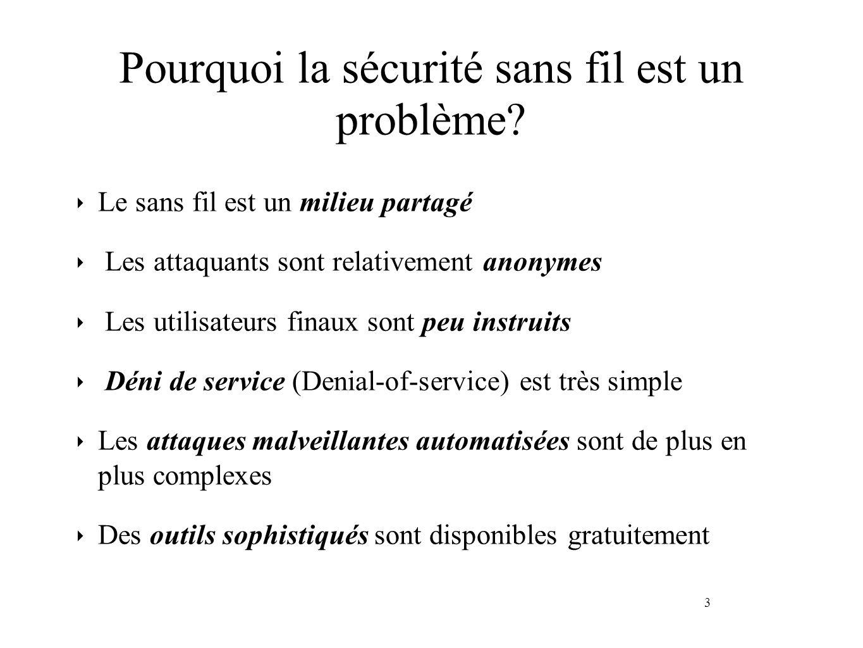 3 Pourquoi la sécurité sans fil est un problème? Le sans fil est un milieu partagé Les attaquants sont relativement anonymes Les utilisateurs finaux s