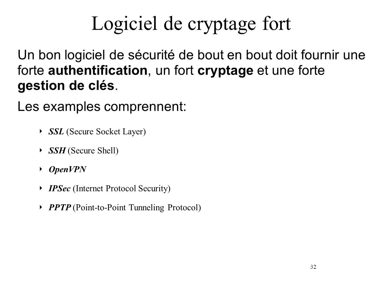 32 Logiciel de cryptage fort SSL (Secure Socket Layer) SSH (Secure Shell) OpenVPN IPSec (Internet Protocol Security) PPTP (Point-to-Point Tunneling Protocol) Un bon logiciel de sécurité de bout en bout doit fournir une forte authentification, un fort cryptage et une forte gestion de clés.