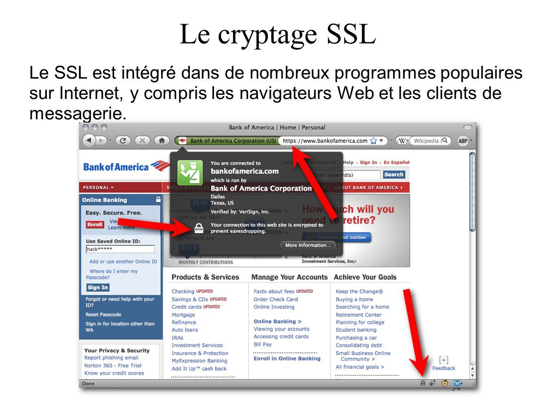 34 Le cryptage SSL Le SSL est intégré dans de nombreux programmes populaires sur Internet, y compris les navigateurs Web et les clients de messagerie.