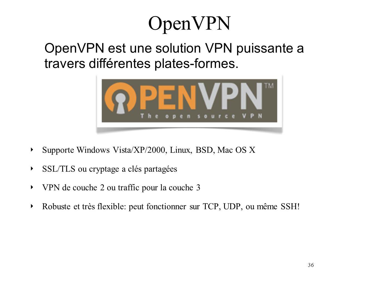 36 OpenVPN Supporte Windows Vista/XP/2000, Linux, BSD, Mac OS X SSL/TLS ou cryptage a clés partagées VPN de couche 2 ou traffic pour la couche 3 Robuste et très flexible: peut fonctionner sur TCP, UDP, ou même SSH.