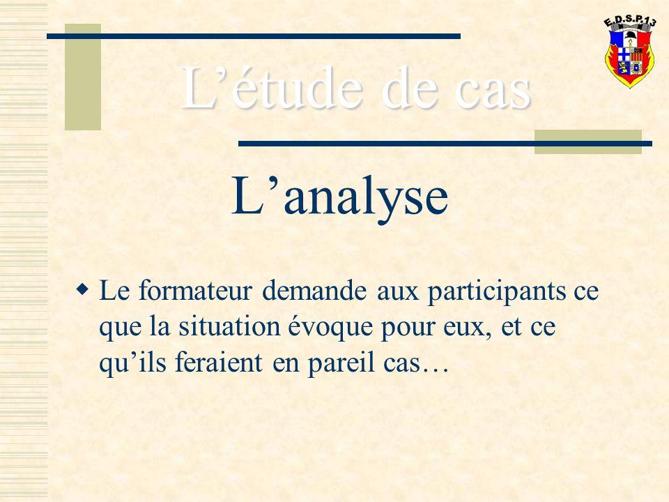 Lanalyse Le formateur demande aux participants ce que la situation évoque pour eux, et ce quils feraient en pareil cas… Létude de cas