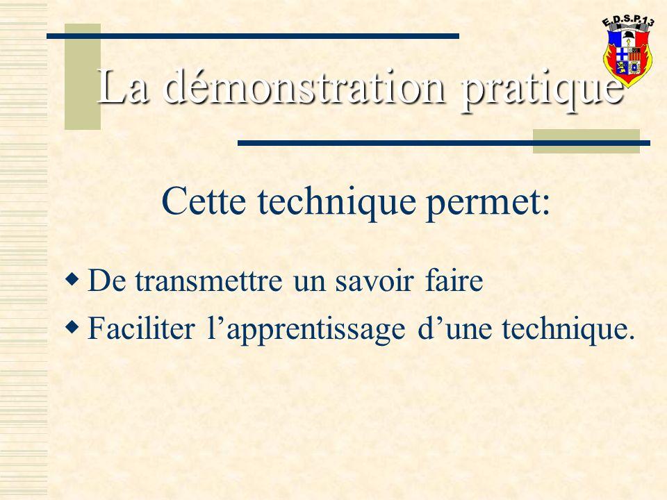 Cette technique permet: De transmettre un savoir faire Faciliter lapprentissage dune technique.