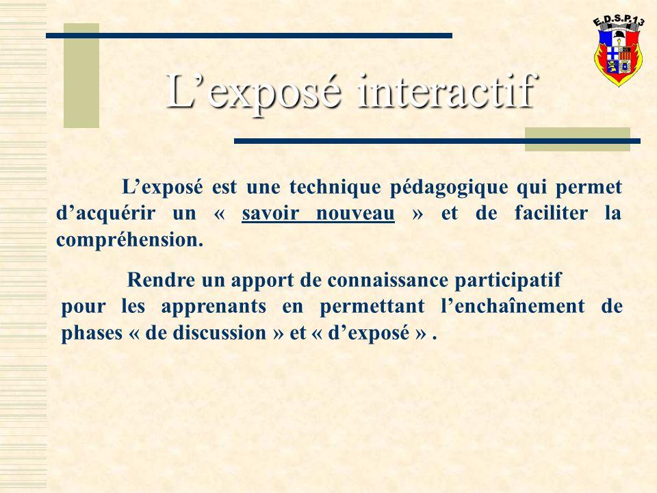 Lexposé est une technique pédagogique qui permet dacquérir un « savoir nouveau » et de faciliter la compréhension.