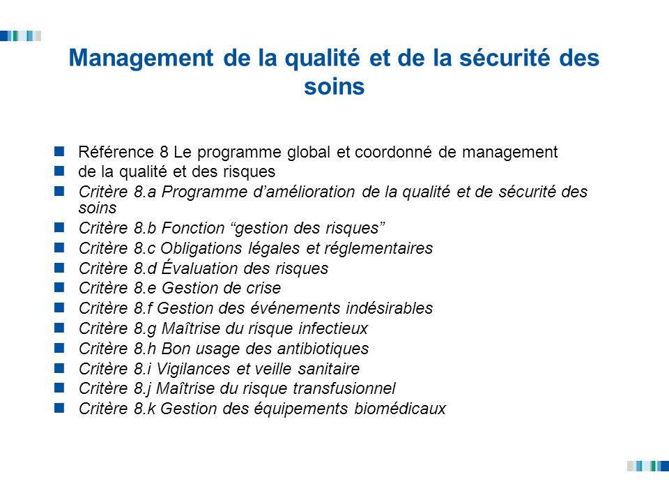 Management de la qualité et de la sécurité des soins Référence 8 Le programme global et coordonné de management de la qualité et des risques Critère 8
