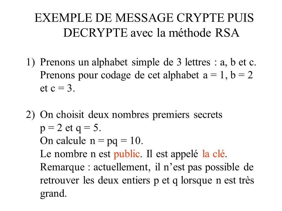 EXEMPLE DE MESSAGE CRYPTE PUIS DECRYPTE avec la méthode RSA 1)Prenons un alphabet simple de 3 lettres : a, b et c.