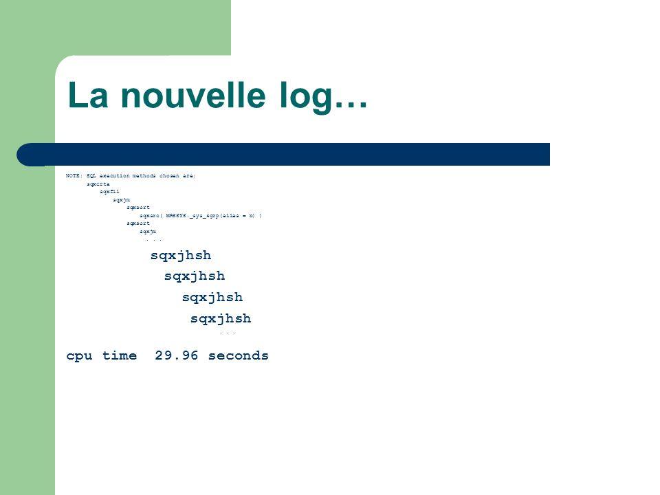 La nouvelle log… NOTE: SQL execution methods chosen are: sqxcrta sqxfil sqxjm sqxsort sqxsrc( MRSSYS._sys_4grp(alias = b) ) sqxsort sqxjm...
