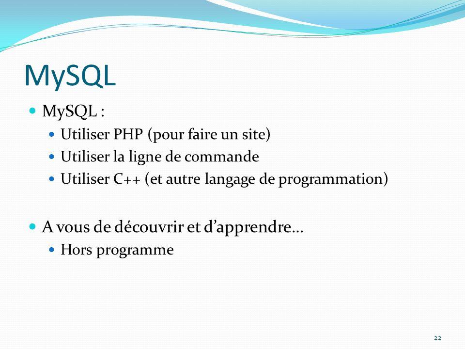 MySQL MySQL : Utiliser PHP (pour faire un site) Utiliser la ligne de commande Utiliser C++ (et autre langage de programmation) A vous de découvrir et dapprendre… Hors programme 22