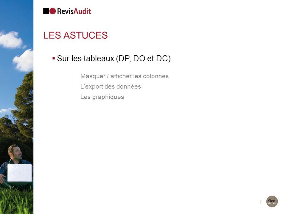 7 LES ASTUCES Sur les tableaux (DP, DO et DC) Masquer / afficher les colonnes Lexport des données Les graphiques
